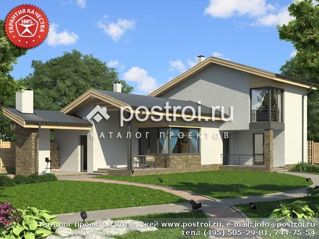 В проекте одноэтажного дома из пенобетона нестандартная архитектура вместе с современным внешним видом говорят о...